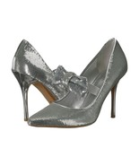 Michael Kors Silver Sequin Mary Jane Bow Paris High Heel Pumps 9 NIB - $123.26