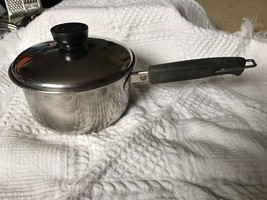 Vintage REVERE WARE 1 Quart Stainless Steel Sauce Pan & Lid 1801 Silver Bottom - $18.98
