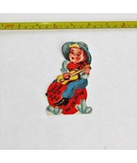 VINTAGE VALENTINE CARD SINGING COWBOY CHILDREN'S DIE-CUT USED GREETING C... - $5.99