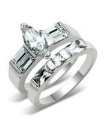 Marquis Cut Clear CZ Wedding Set .925 Sterling Silver - $34.00