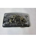 Vintage NICKEL SILVER Bucking Bronco Horse Western Cowboy Belt Buckle - $14.84