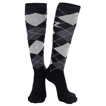 10-12 HORZE HOLLY ARGYLE FABRIC COTTON LADIES PAIR KNEE SOCKS BLACK - $223,98 MXN