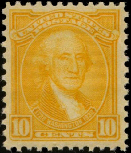 1932 10c Washington, G. Stuart, Orange Yellow Scott 715 Mint F/VF NH