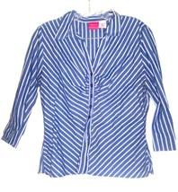 Sz L - Xhilaration Blue & White Striped 3/4 Sleeve Shirt - $18.99
