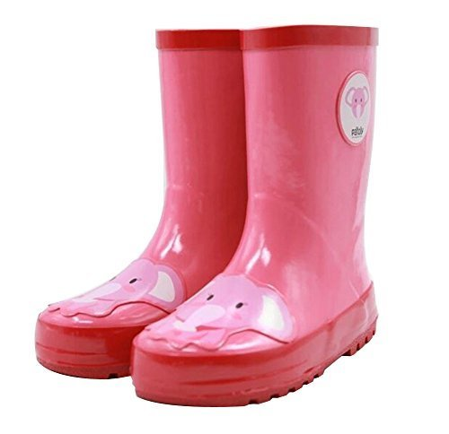 Cute Starry Kids' Rain Boots Pink Elephant Children Rainy Days Shoes 19.2CM