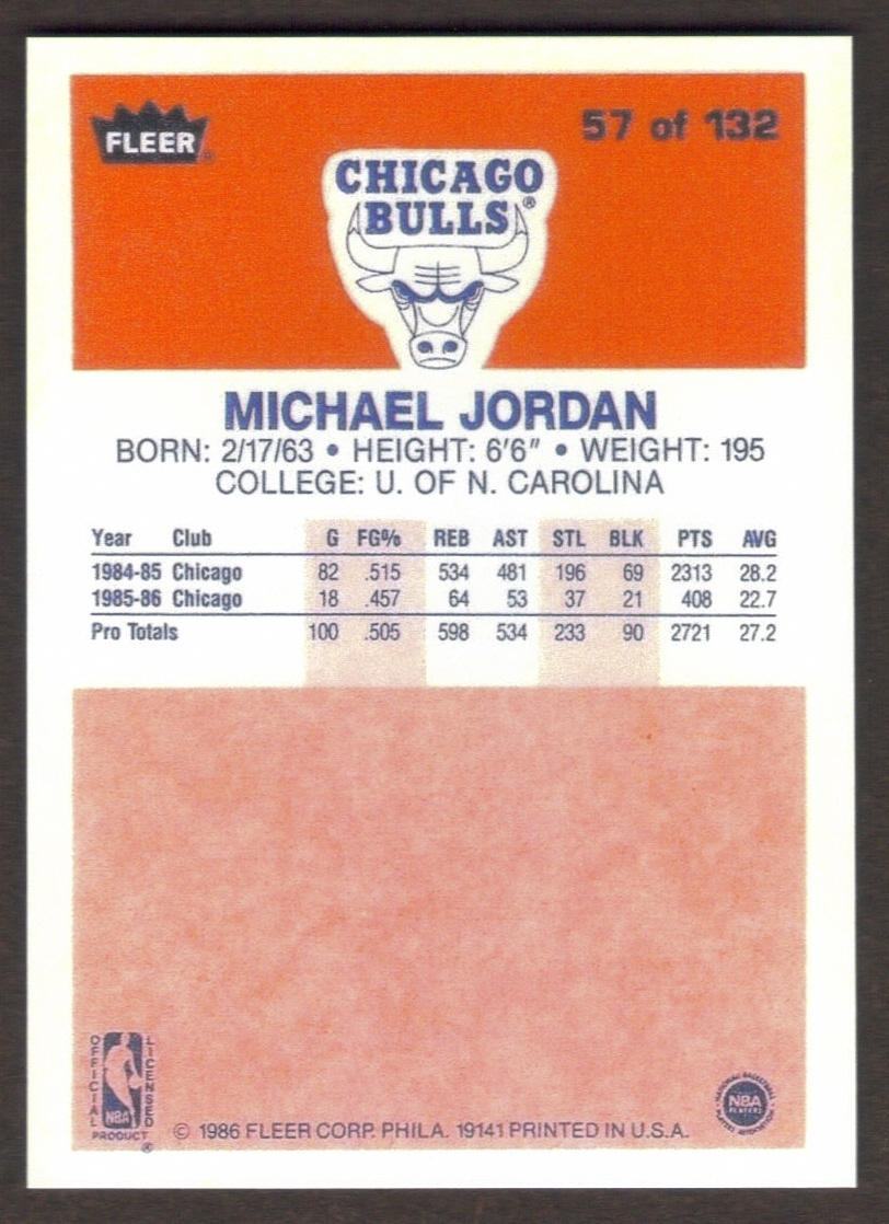 MICHAEL JORDAN Rookie Card RP #57 Bulls RC 1986 F Free Shipping