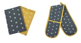 BEE SILHOUETTES GREY YELLOW COTTON DOUBLE OVEN GLOVES & PACK OF 2 TEA TO... - $26.35