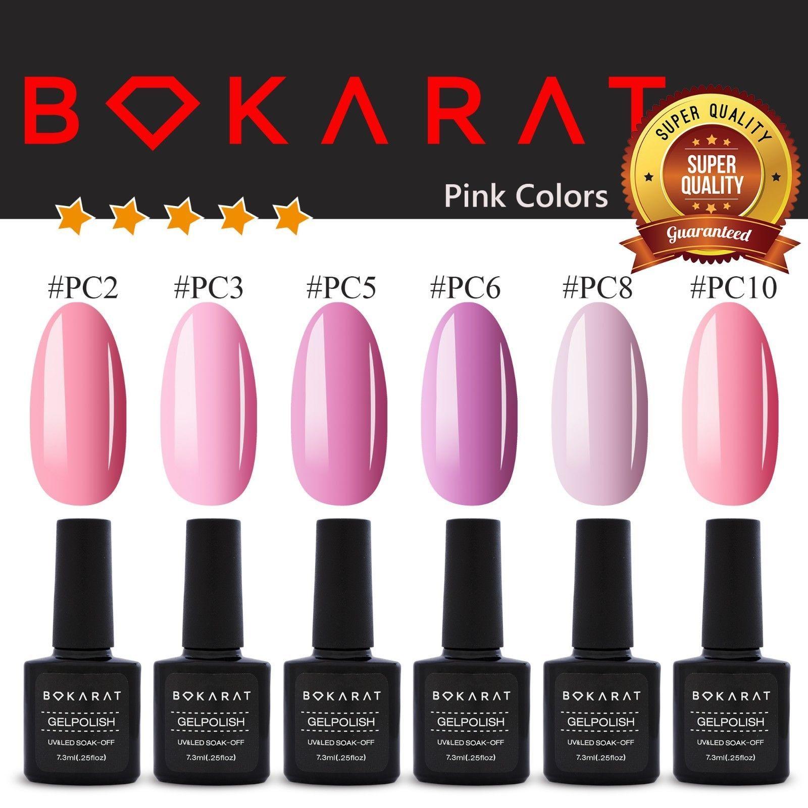 ~Pink Colors~ Bokarat Gel Nail Polish 7.3 ml Soak Off UV LED ~High Quality~