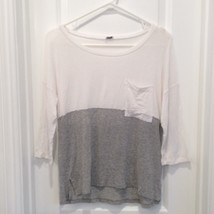 Splendid 2 TONE SWEATER Grey/ White L/S - $29.99