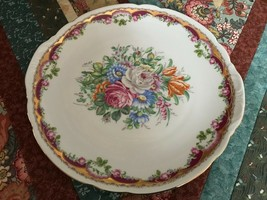 T. Limoges Maba Porcellane Rose Motif Gold Trim Platter Dish 10.75 inch - $223.20