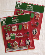 New Christmas House Holiday Erasers Lot Of 2 Packs Of 12 - $9.74