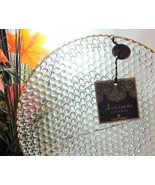 4x Artistic Accents Turkish Clear Bubble Hobnail Glass SALAD Plates Gold... - $37.17