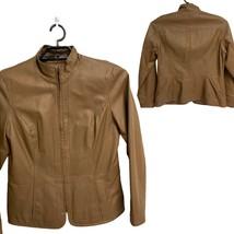 Coldwater Creek Women's Brown 100% Leather Full Zip Jacket Size Medium - $34.65