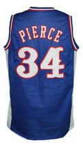 Paul Pierce #34 Custom College Basketball Jersey New Sewn Blue Any Size image 2
