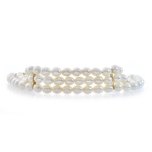 5 mm Freshwater Pearl Three Strand Bracelet 14K Yellow Gold Lock - $325.71