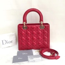 Authentic Christian Dior 2017 Lady Dior Medium Red Patent Shoulder Tote Bag GHW image 2