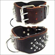 Medium New Hilason Genuine Leather Spikes Studded Padded Dog Collar Brown U-03-M - $49.49