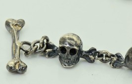 Victorian solid Sterling Silver MEMENTO MORI 12 SKULLS pocket watch chai... - $600.00
