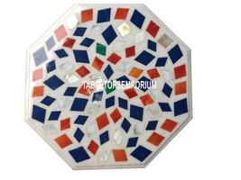 12'' White Marble Side Coffee Table Top Mosaic Multi Stone Arts Decor Fu... - €350,57 EUR