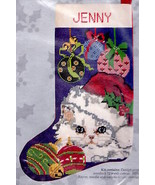 Candamar Cat and Ornaments White Kitten Christmas Needlepoint Stocking K... - $132.95