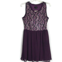 Umgee Jr Dress Size M Medium Purple Snake Print Sleeveless Sequined Line... - $13.97