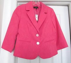 NEW TALBOTS PETITES JACKET COAT Embossed Cotton Blend Lined 3/4Sleeve SA... - $68.95