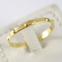 SOLID 18K YELLOW GOLD BAND ROSARY RING WITH CROSS LUMINOUS SMOOTH, MADE IN ITALY image 1