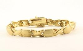 Vintage XOXO Design Gold Tone Link Bracelet Sterling Silver BR 323 - $34.99