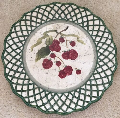 3 Raymond Waites Cornucopia Certified Intl Green Rim Fruit Dinner Dish Plates image 4