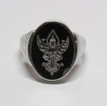 Vintage Antique Black Nielloware Enamel Siam STERLING SILVER Flip Ring S... - $36.61