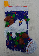 """Finished Bucilla Christmas Stocking Two Turtle Doves 18"""" Completed From Kit #866 - $149.97"""