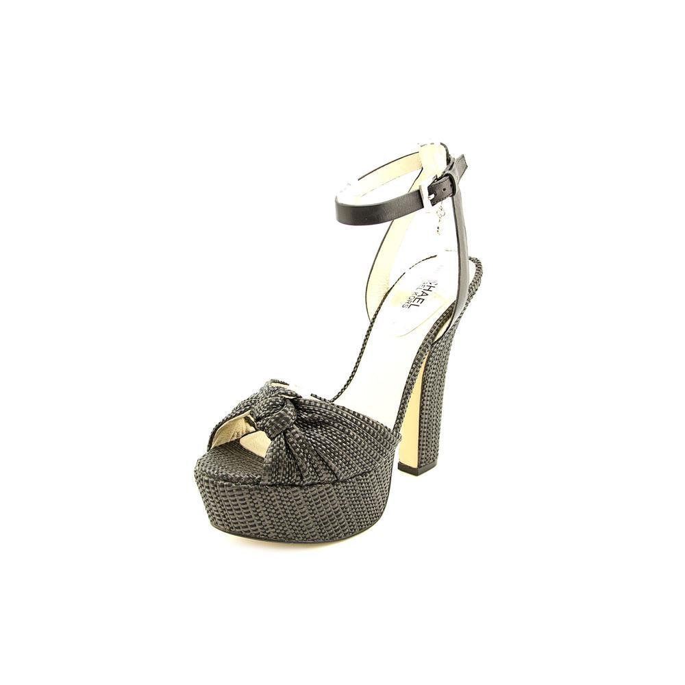 Primary image for MICHAEL Michael Kors Women's Ankle Strap Black Soft Straw/Vanchetta size 9