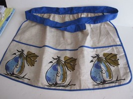 Vtg VERA Linen Apron 3 Pocket Pear Pattern Beige & Blues Never Used - $13.98