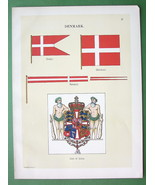 FLAGS of Denmark Coat of Arms Merchant Pennant - 1899 COLOR Antique Print - $12.15