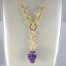 Necklace Silver 925 Yellow Gold Plated with Pendant Milled and Amethyst image 2
