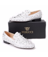 Men FERUCCI Silver Spikes Slippers Loafers Flat With Crystal GZ Rhinestone - $199.99+