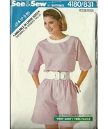 See And Sew Sewing Pattern 4180 831 Misses Womens Top Shorts 6 8 10 12 1... - $9.99