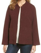 Eileen Fisher Mandarin Collar Textured Snap Front Jacket NWT$298 Size L - $72.57