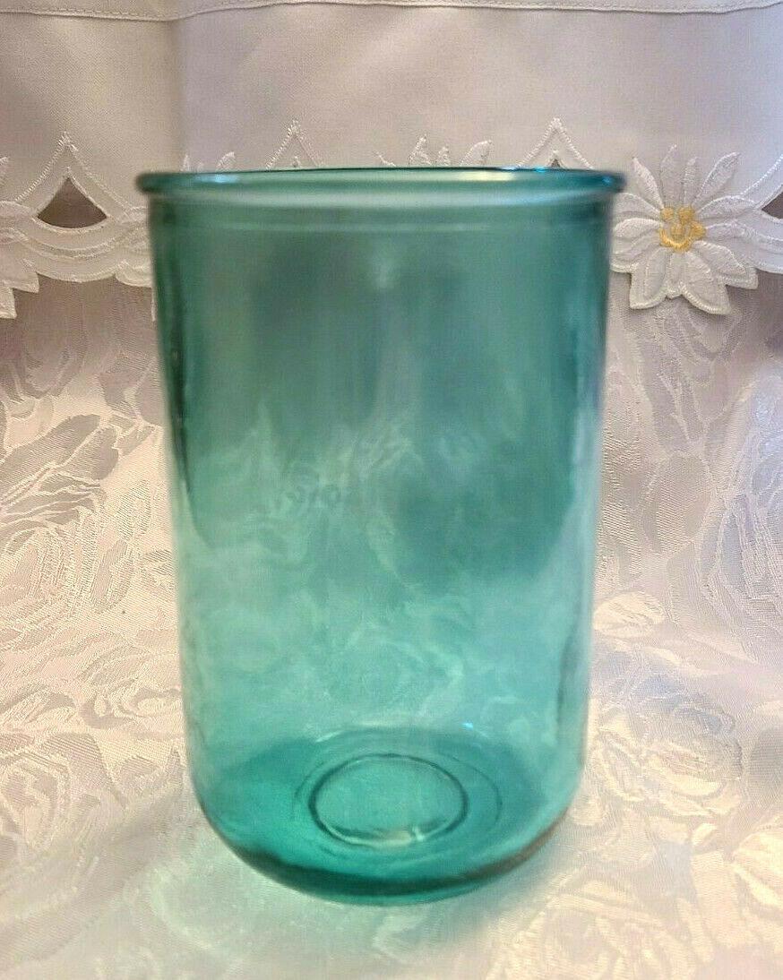 Vintage Unusual Dark Aqual Blue Glass Vase - See Pictures for better Description