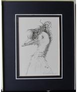 Wild Hair, Emu, Framed Matted Wildlife Art Print, Pen and Ink, Bird Art ... - $30.00