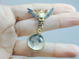 Neat  OLD Patriotic Jeweled Eagle Pin Lucite Orb Ball Dangling Locket W/... - $29.99