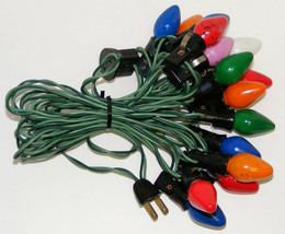 Vintage C-7 Christmas Lights - Green Strand with 15 Bulbs - $12.99