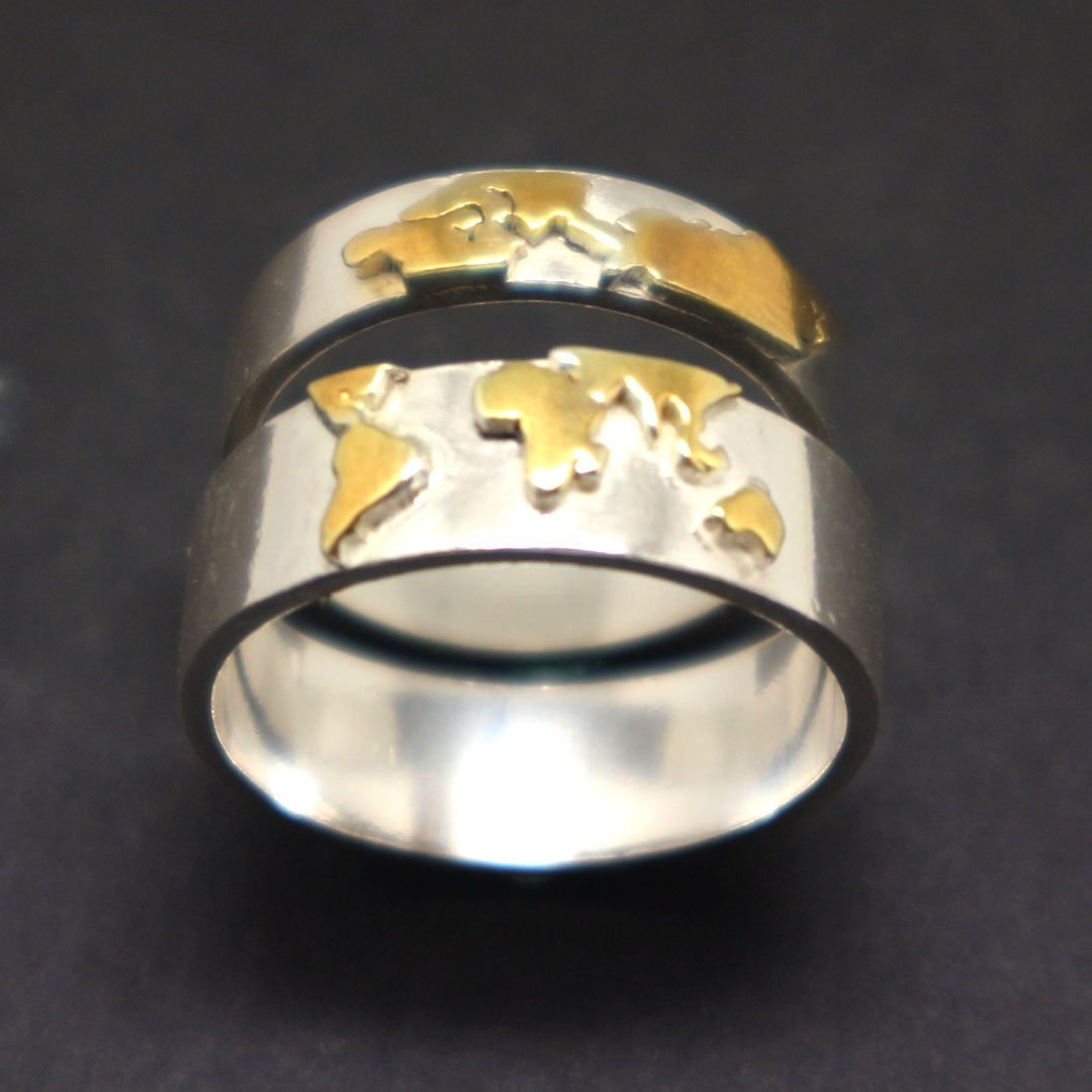 Gold Over Silver World Map Ring image 6