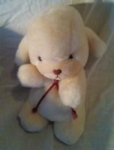 "Vintage 1982 Gund SMOOCH Soft White Puppy Rattle plush with red cord 11"" - $49.96"