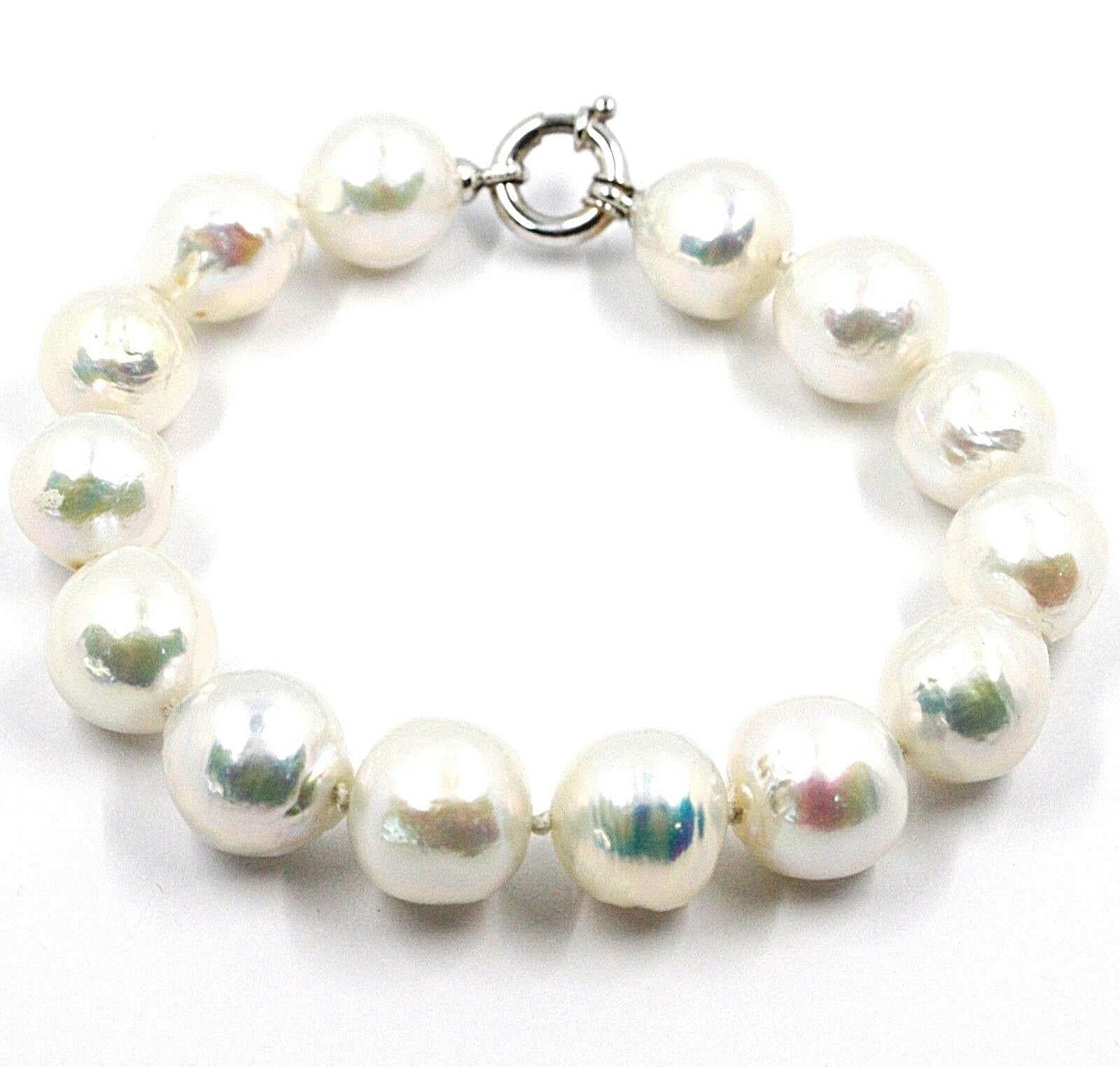Bracelet White Gold 18K, Pearls Large 13 mm, White, Freshwater, Baroque Style