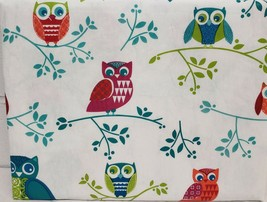 "FLANNEL BACK VINYL TABLECLOTH 52"" x 70"" (4-6 people) OWLS ON THE TREE BR... - $15.83"