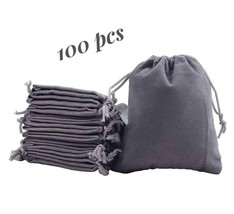 Wedding Favor Jewelry Packaging Velvet Bags Drawstring Pouch Grey Gift Bag - $77.39