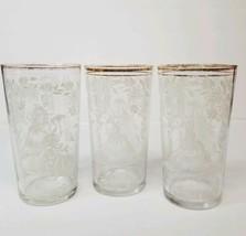 3 Vingtage Beverage Highball Glasses White and Gold Design Lady under Tr... - $21.29