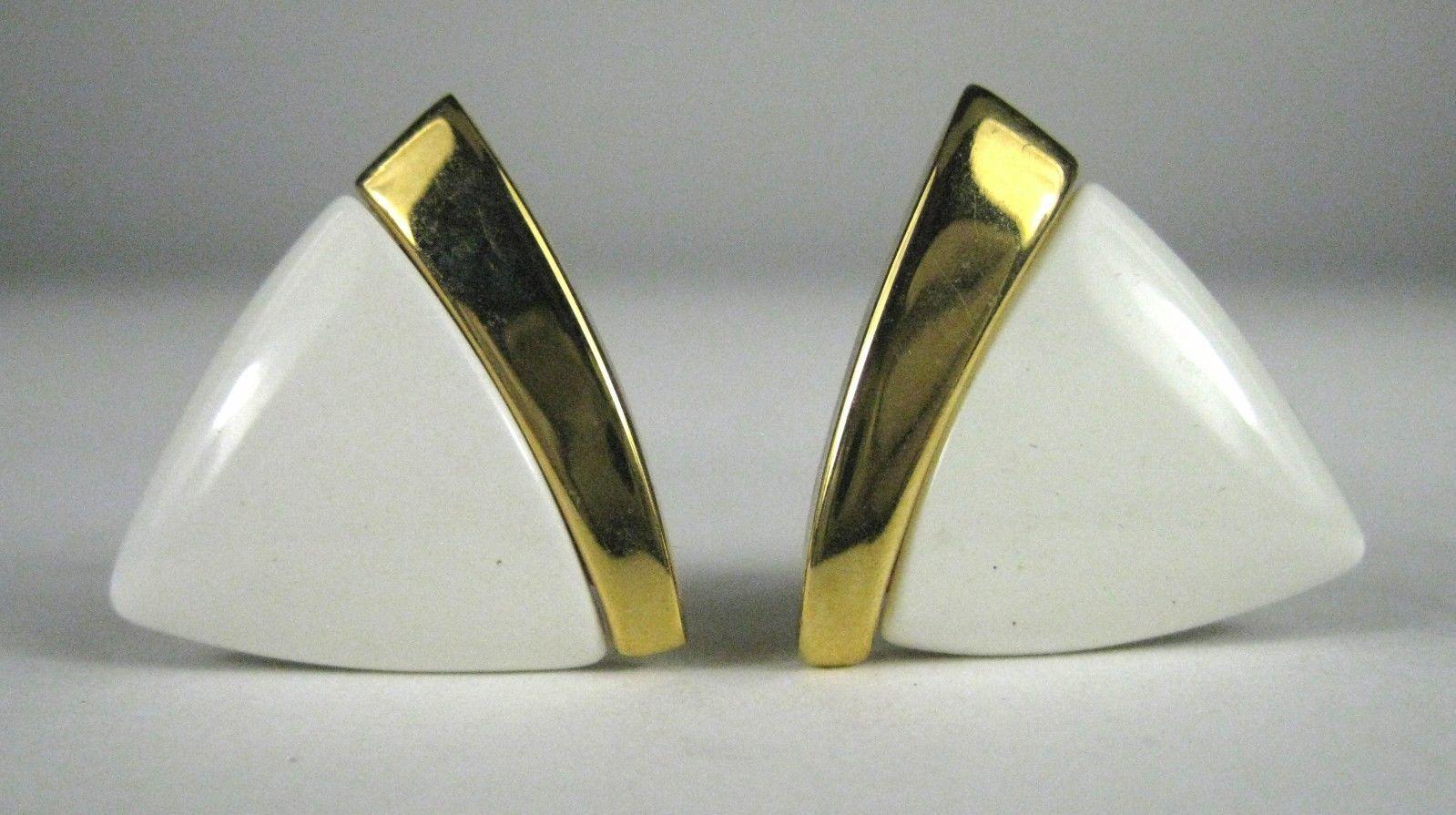 NAPIER Clip Earring Screw Back White Lucite Goldtone Signed VTG Vintage