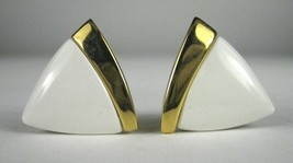 NAPIER Clip Earring Screw Back White Lucite Goldtone Signed VTG Vintage - $24.50